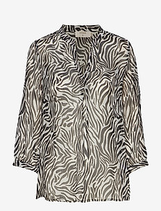 Sama Shirt l/s - PITCH BLACK / ZEBRA PRINT