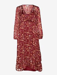 Nila Wrap Dress - MERLOT RED