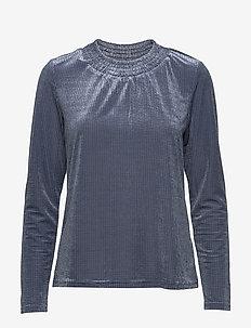 Camily Velvet Ls Tshirt - INFINITY BLUE