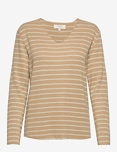 JonnaCR V-neck - camel mlg/soft green stripe
