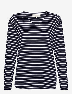 JonnaCR V-neck - royal navy blue/chalk stripe