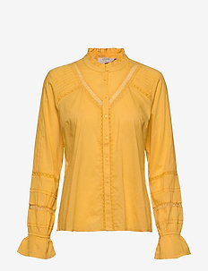 MannaCR Shirt - long sleeved blouses - spicy mustard