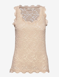 BrendaCR Lace Top - sleeveless tops - chai beige