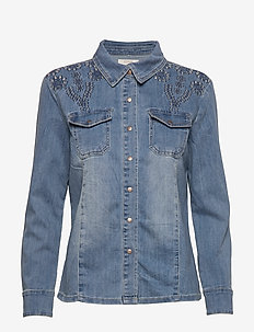 YillaCR Shirt - jeansblouses - blue denim