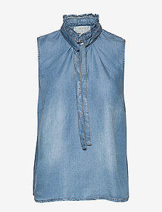 VincaCr den top - ermeløse bluser - blue denim