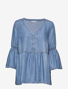 VincaCr boho blouse - langærmede bluser - blue denim