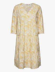 EstaCR Dress - do kolan & midi sukienki - yellow leaf print