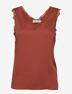 AlenaCR stretch Top - blouses zonder mouwen - baked clay