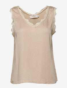 AlenaCR stretch Top - blouses zonder mouwen - chai beige