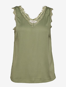 AlenaCR stretch Top - blouses zonder mouwen - oil green
