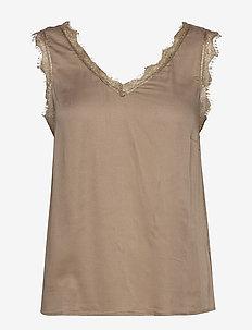 AlenaCR stretch Top - blouses zonder mouwen - truffet