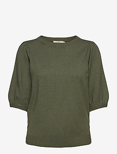 DelaCR Knit Blouse - kortärmade blusar - oil green melange