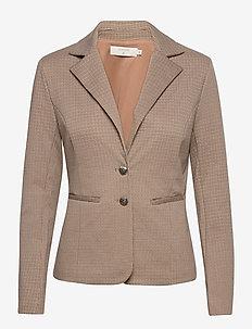AnettCR Blazer plain - blazere - taupe gray check