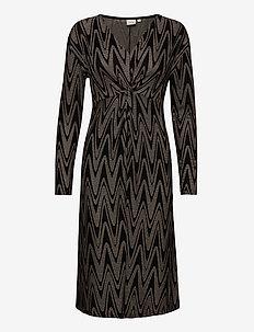 NolaCR Dress - sukienki do kolan i midi - taupe zigzag jaquard