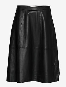 SimoneCR Leather Skirt - PITCH BLACK