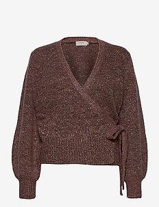 KiaraCR Knit Wrap Blouse - swetry rozpinane - burlwood melange