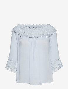 CRBea Lace Blouse - bluzki z długimi rękawami - cashmere blue