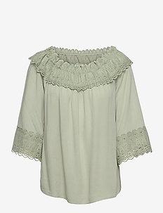 CRBea Lace Blouse - bluzki z długimi rękawami - desert sage