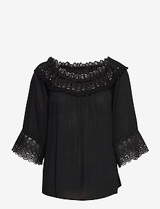 CRBea Lace Blouse - bluzki z długimi rękawami - pitch black