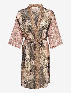 CRAnopo Kimono - kimonoer - brown palm animal mix