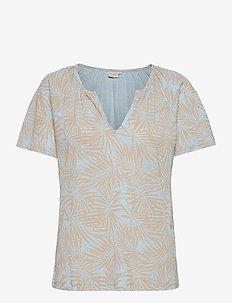 CRLuna Printed T-shirt - short-sleeved blouses - cashmere blue palms