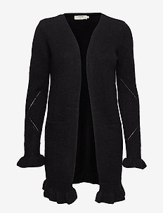 Kaitlyn Flounce Cardigan - PITCH BLACK