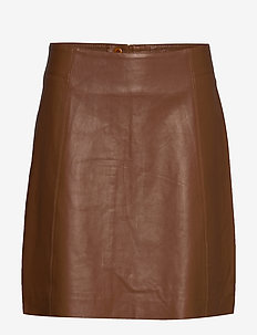 TaraCR Leather Skirt - COGNAC