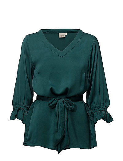 Angie Blouse 3/4 sleeve - HUNTER GREEN