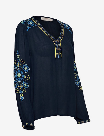 Cream Lavilnacr Blouse- Bluzki & Koszule Royal Navy Blue