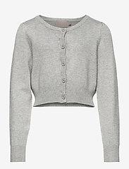 Creamie - Creamie Short Cardigan - gilets - light grey melange - 0