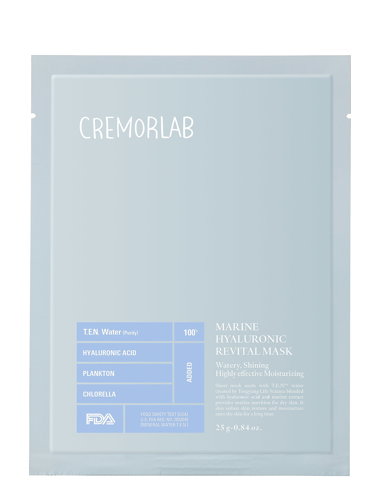 Image of T.E.N. Water Marine Hyaluronic Revital Mask Beauty WOMEN Skin Care Face Sheet Mask Nude Cremorlab (3297684897)