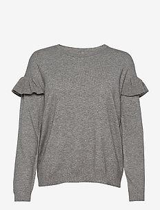CUdarin Oneck Ruffle - knitted tops & t-shirts - grey melange