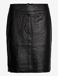 CUberta Leather Skirt - midi rokken - black