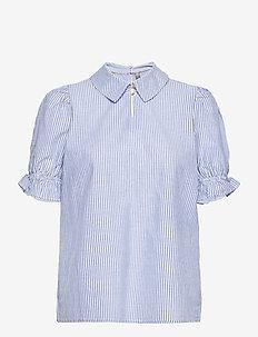 CUolena Blouse - kortærmede bluser - blue stripe
