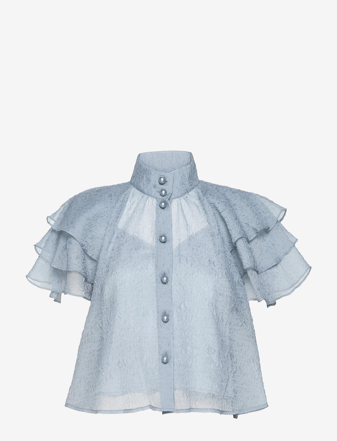 Custommade - Obia - kortærmede bluser - dusty blue - 0