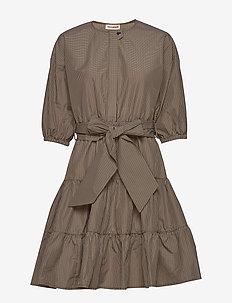Nini Checks - short dresses - cement