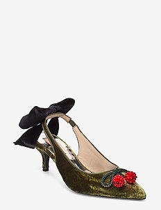 Adina Velvet - sling backs - dark olive