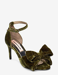 Marita Velvet - heeled sandals - dark olive