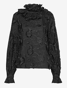 Elda - blouses med lange mouwen - anthracite black