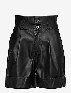 Alida - leren shorts - anthracite black