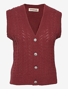 Ellah - knitted vests - rum raisin brown