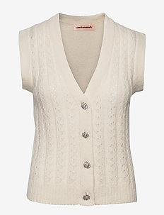 Ellah - knitted vests - whisper white