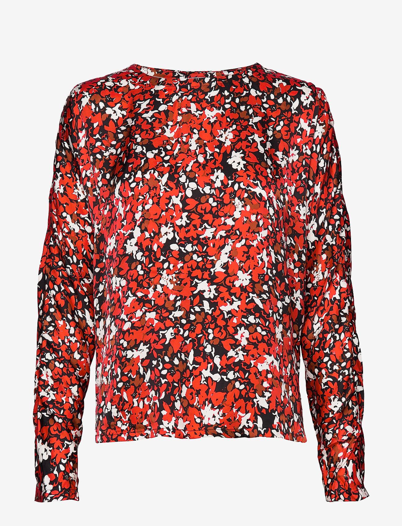 Dagmar - Seija - långärmade blusar - red flower - 0