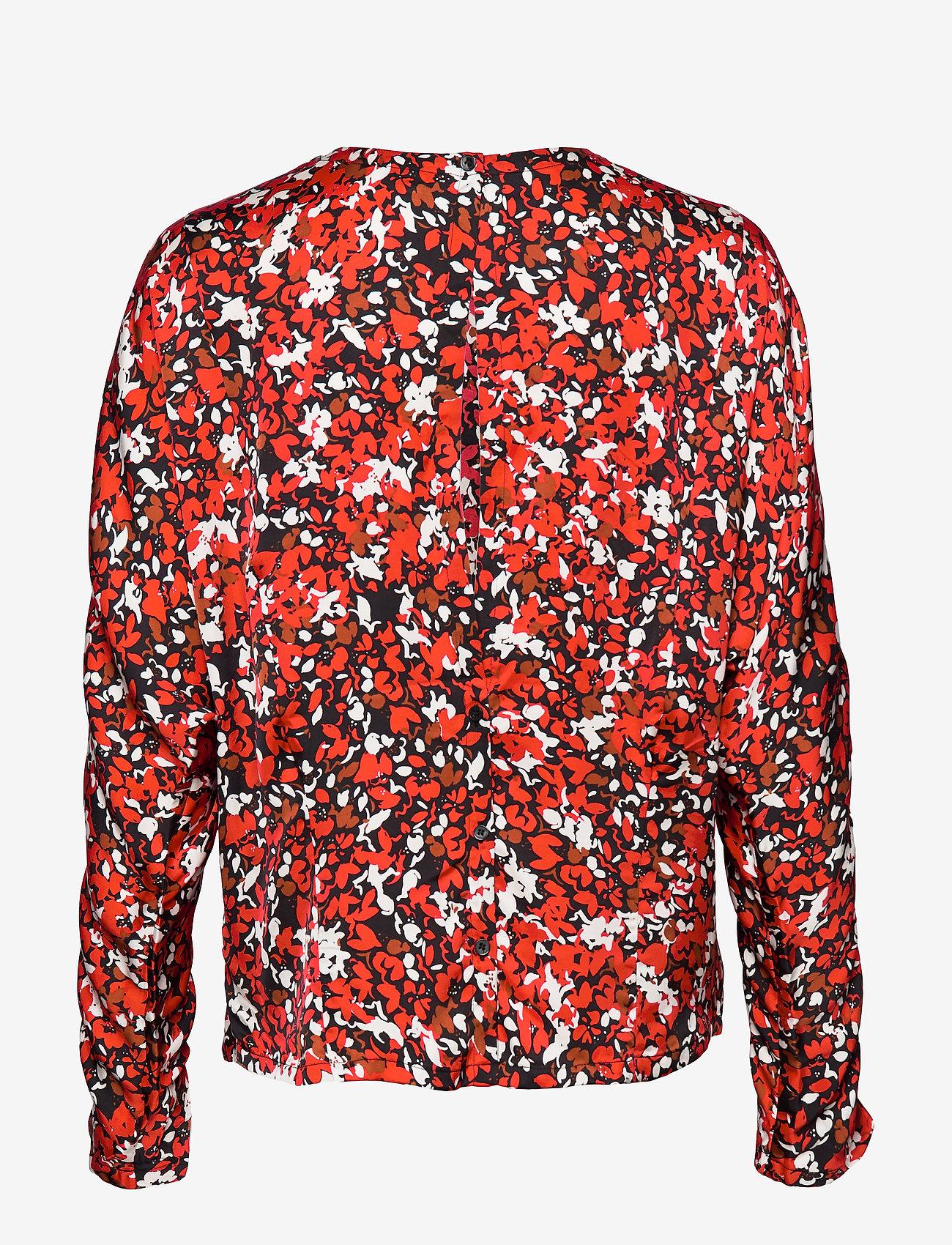 Dagmar - Seija - långärmade blusar - red flower - 1