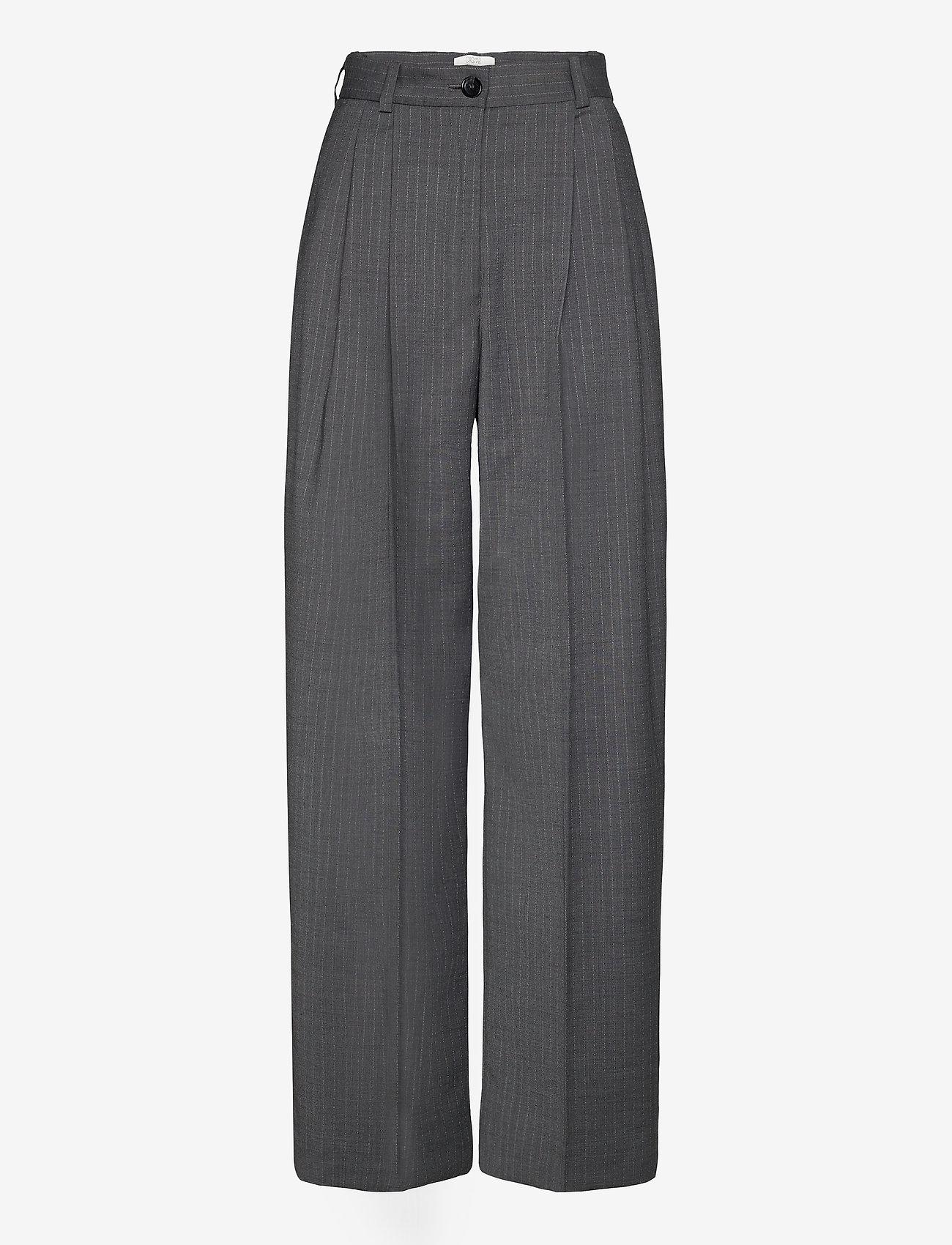Dagmar - Valentina pinstripe - straight leg trousers - grey pinstripe - 0
