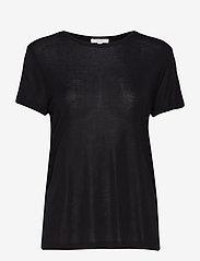 Dagmar - Upama rib top - t-shirts - black - 0