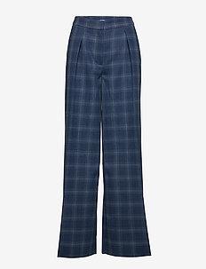 Irene - leveälahkeiset housut - blue check