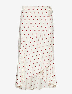 Ruby - maxi nederdele - off white + burgundy dot