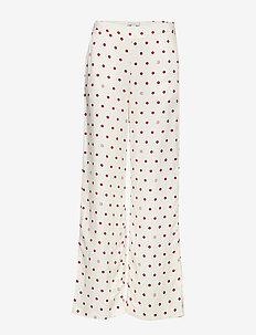 Ebba - bukser med brede ben - off white + burgundy dot