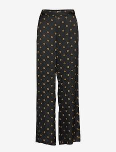 Ebba - leveälahkeiset housut - black print